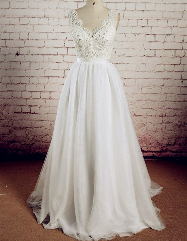 Lace and Tulle Wedding Dress pwd0030 · BBDressing · Online Store ...
