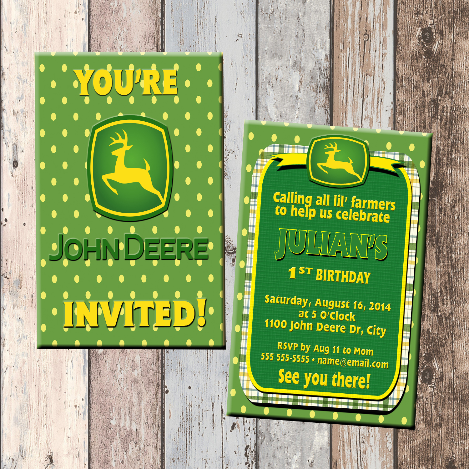 John Deere Tractor Boy Personalized Birthday Invitation 2 Sided Card Party