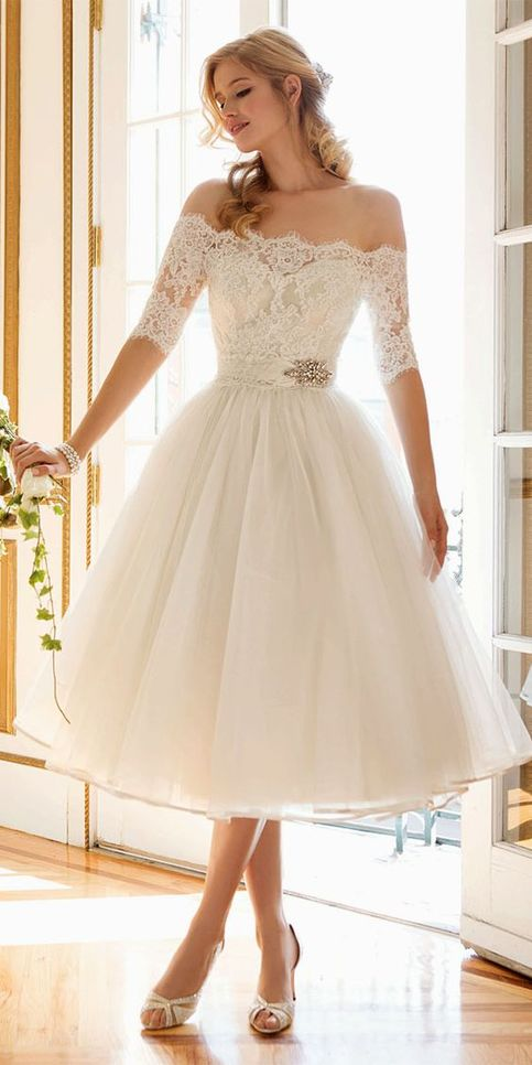 2016 custom charming white lace wedding dress sexy off the for Short fluffy wedding dresses