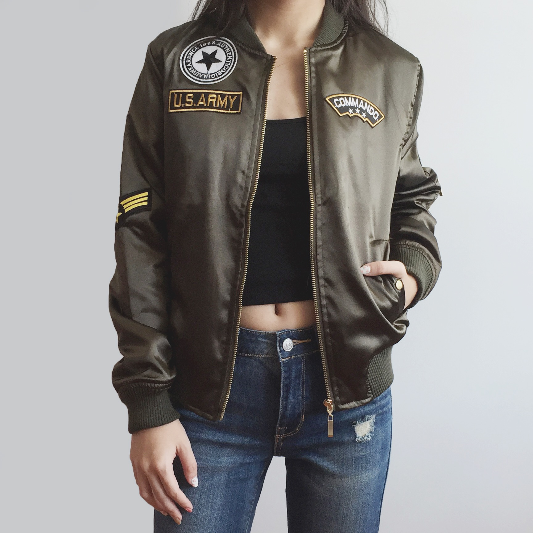 Army Patch Bomber Jacket (Olive) · Megoosta Fashion · Free ...