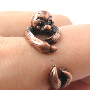 3D Sloth Animal Hug Wrap Ring in Copper - Sizes 5 to 9.5