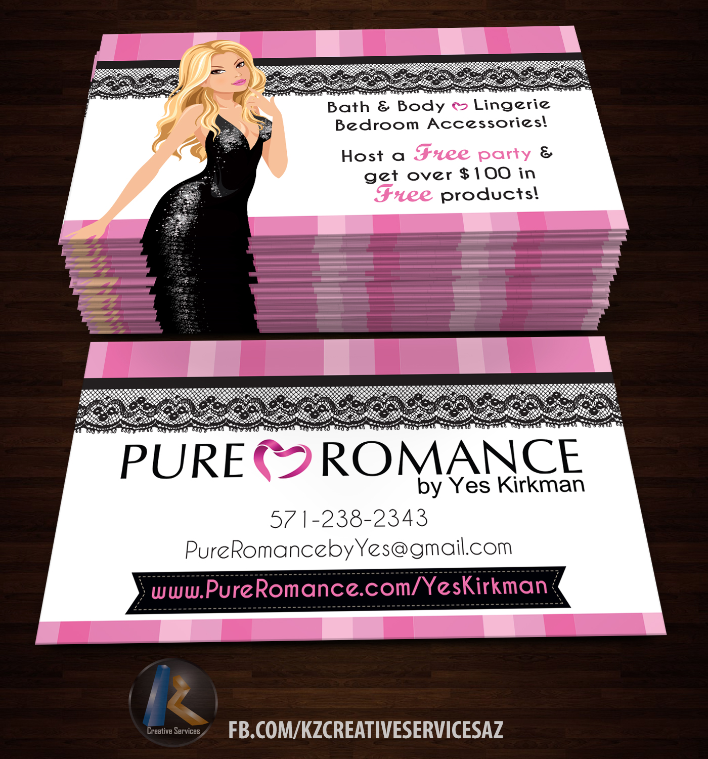 Pure Romance Business Cards style 2 · KZ Creative Services