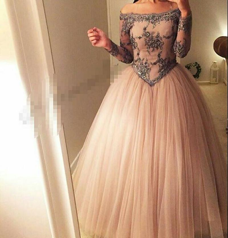 Boat Neck Evening Dresses Long Sleeve Lace Special Occasion Dresses