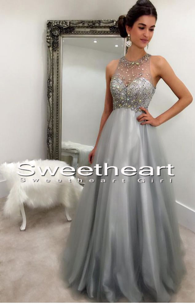 Sweetheart Girl | Gray round neck tulle sequin long prom dress, gray ...