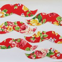 Floral Mustache Iron on Applique- 4 pack  - Thumbnail 2