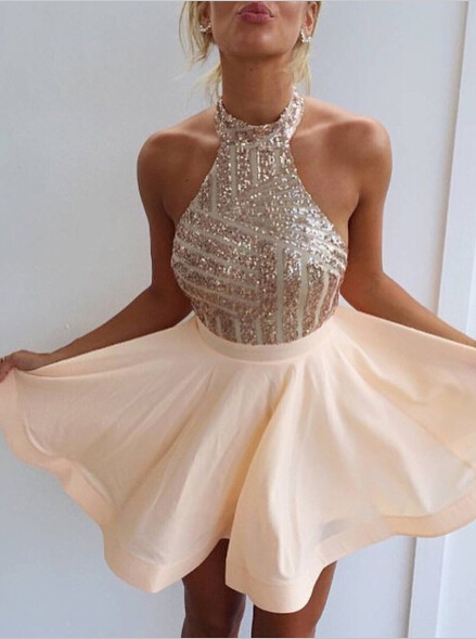 Sexy Halter Short Rose Gold Sparkly Homecoming Dress/Cocktail ...