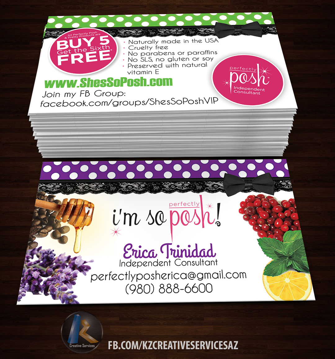 Perfectly Posh Business Cards 3 Kz Creative Services Online