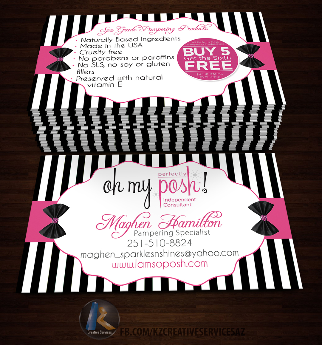Perfectly Posh Business Cards 12 Kz Creative Services Online