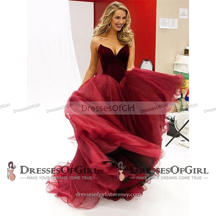 Elegant Burgundy Ball Gown Prom Dress, Pretty Princess Sweetheart ...