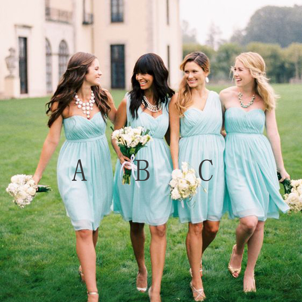 Tiffany blue bridesmaid dresses, short bridesmaid dresses ...