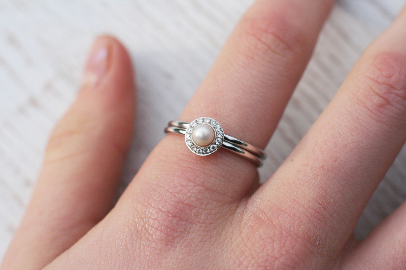 Halo engagement ring pearl engagement ring white pearl for Pearl engagement ring with wedding band