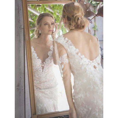 Deep V-neck Lace Appliques Beads Wedding Dress, Low Back Long ...