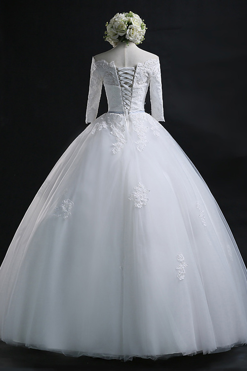 Pluffy Lace A Line Wedding Dress Cheap Long Sleeves Bridal