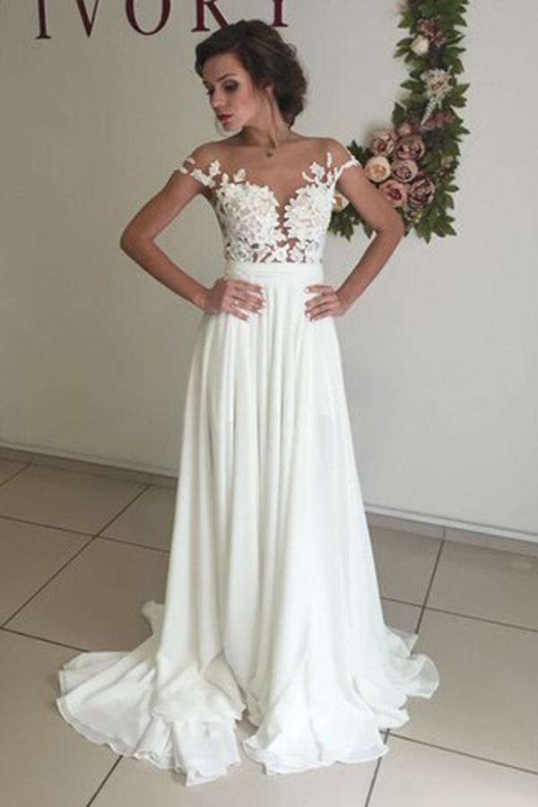 Pretty Lace Top Long Wedding Dress, Cheap Elegant Wedding dress For ...