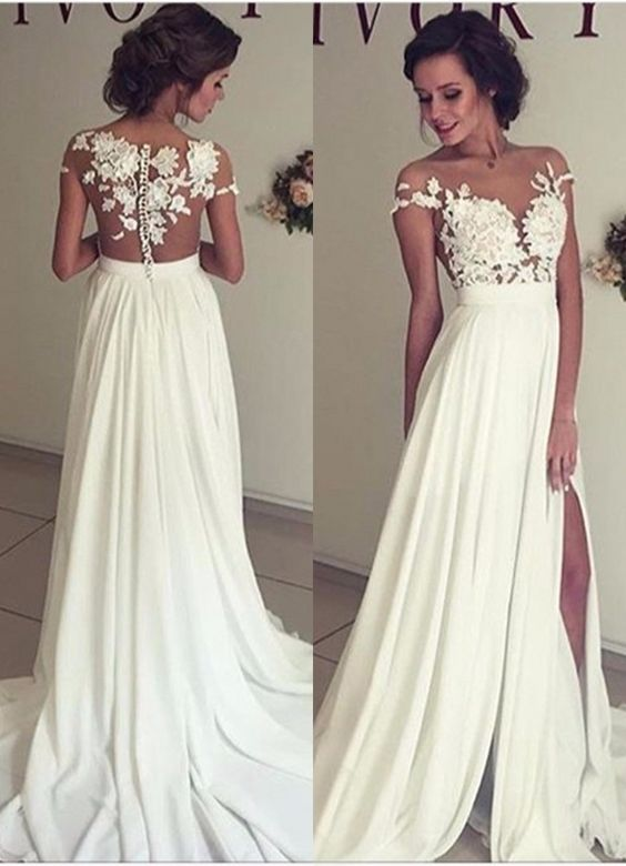A270 Wedding Dresses Collections, Lace Top Side Slit Wedding Bridal ...