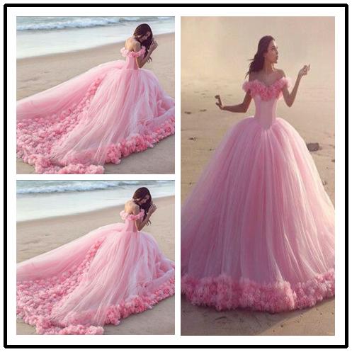A27 Fairy Princess Wedding Dress, Pink Tulle Romantic Wedding ...