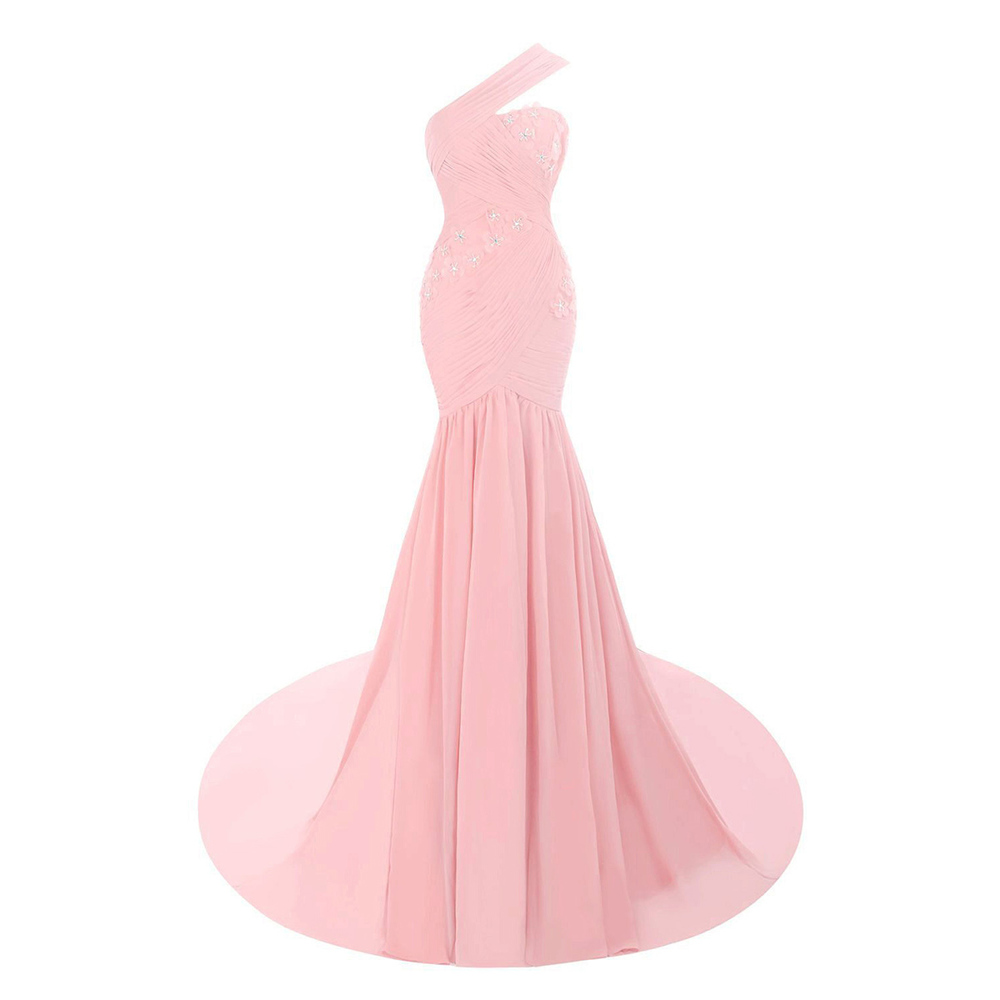 Unique One Shoulder Light Pink Long Prom Dress, Sweet Ruched Chiffon ...