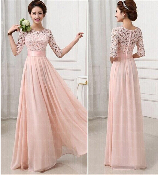 Pink Bridesmaid Dresses, Long Half Sleeves Lace Bridesmaid Dresses ...