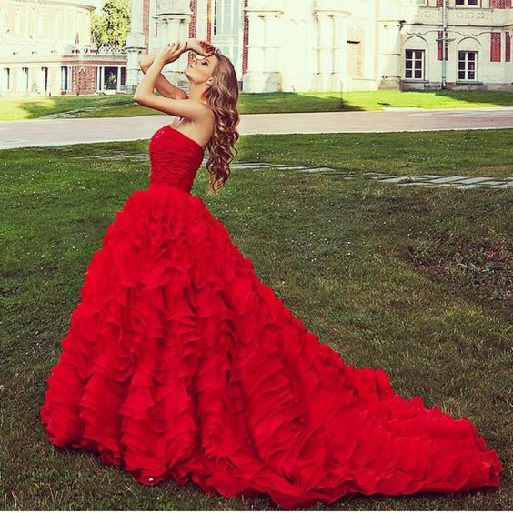 Stunning Red Ball Gown,Layered Prom Dress,Sweetheart Evening ...