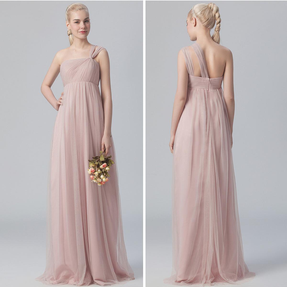One shoulder bridesmaid dress, long bridesmaid dresses, tulle ...