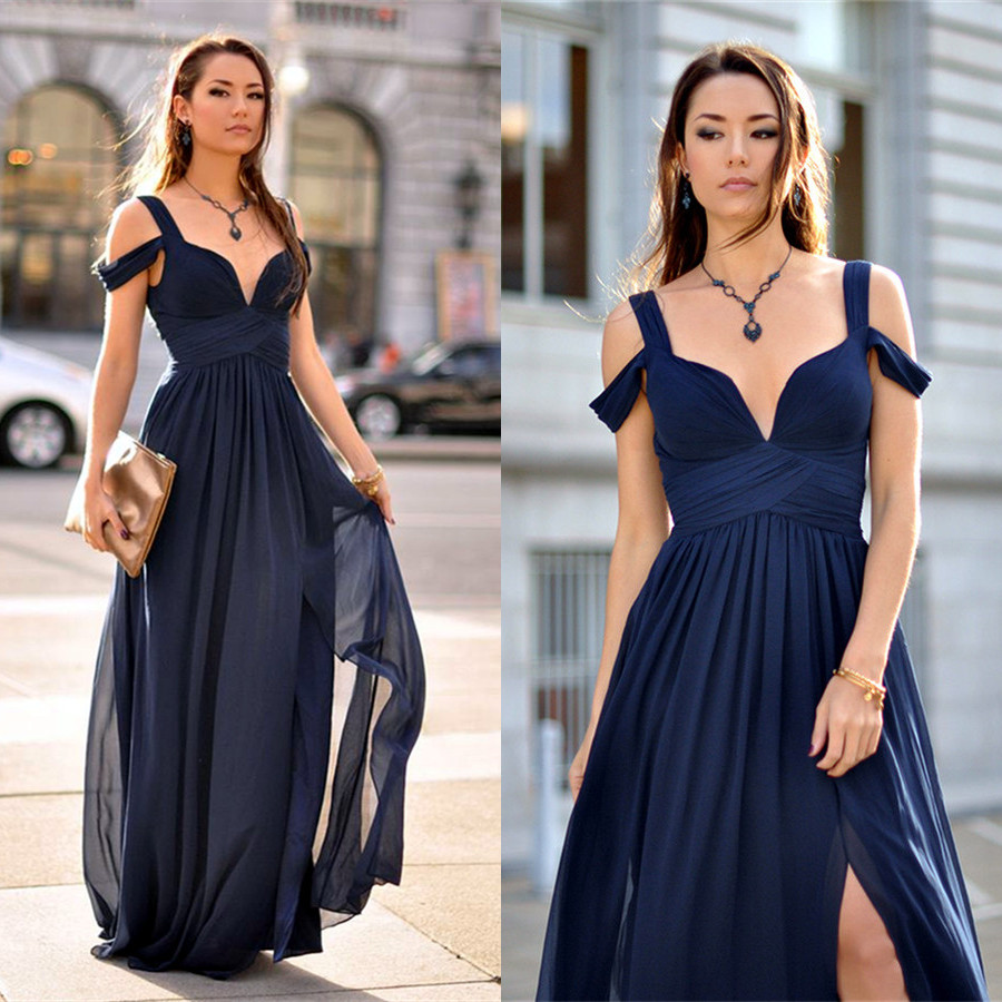 2017 Prom Dress Navy Blue Long Prom Dress With Side Slit Cheap