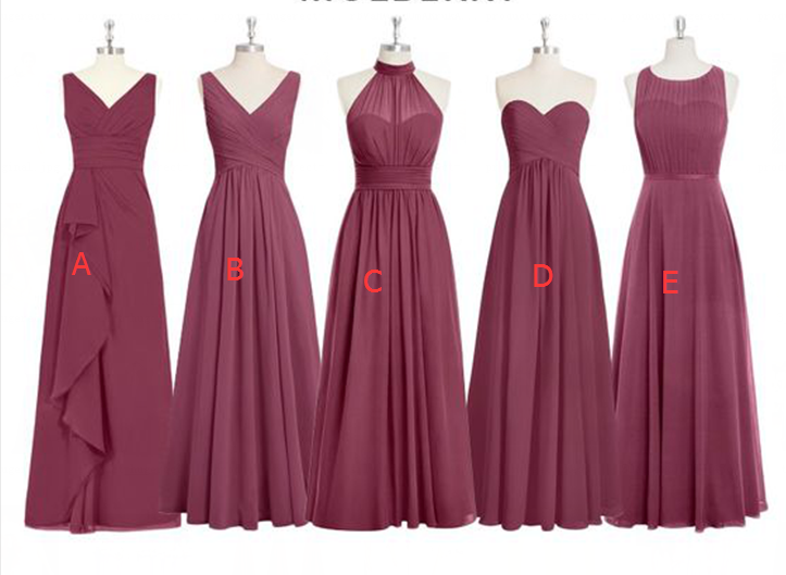 Mismatched Bridesmaid Dresses,Long Bridesmaid Gown,Mulberry Chiffon ...