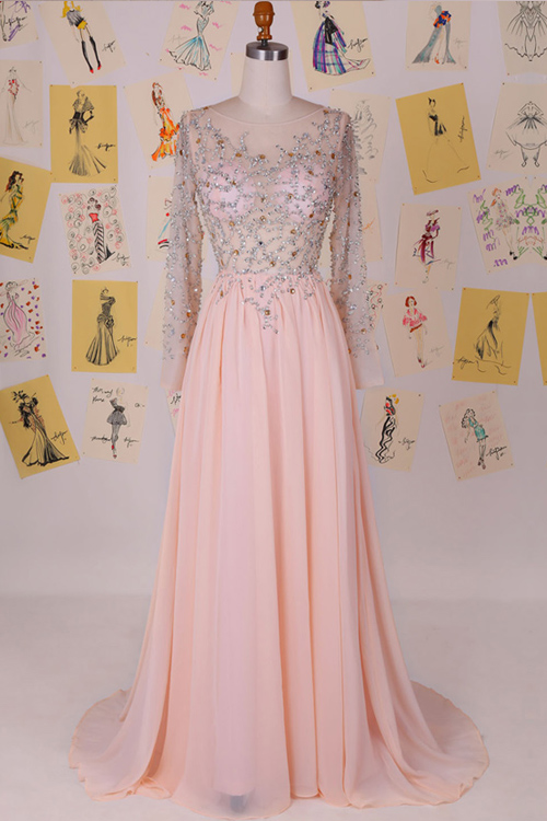 Long sleeves blush pink prom dress, sexy see through beaded prom ...