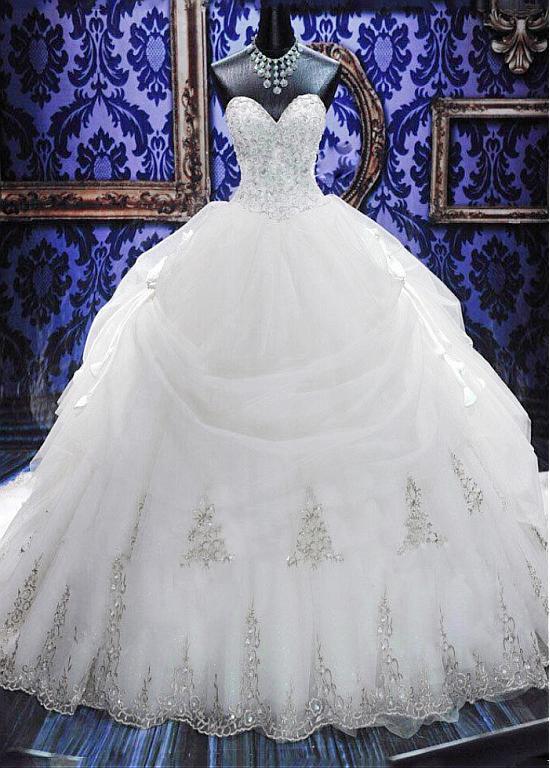 Organza Sweetheart Neckline Basque Waistline Ball Gown Wedding Dress ...