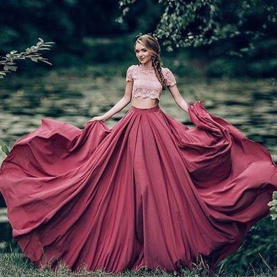 Pink Lace Prom Dress