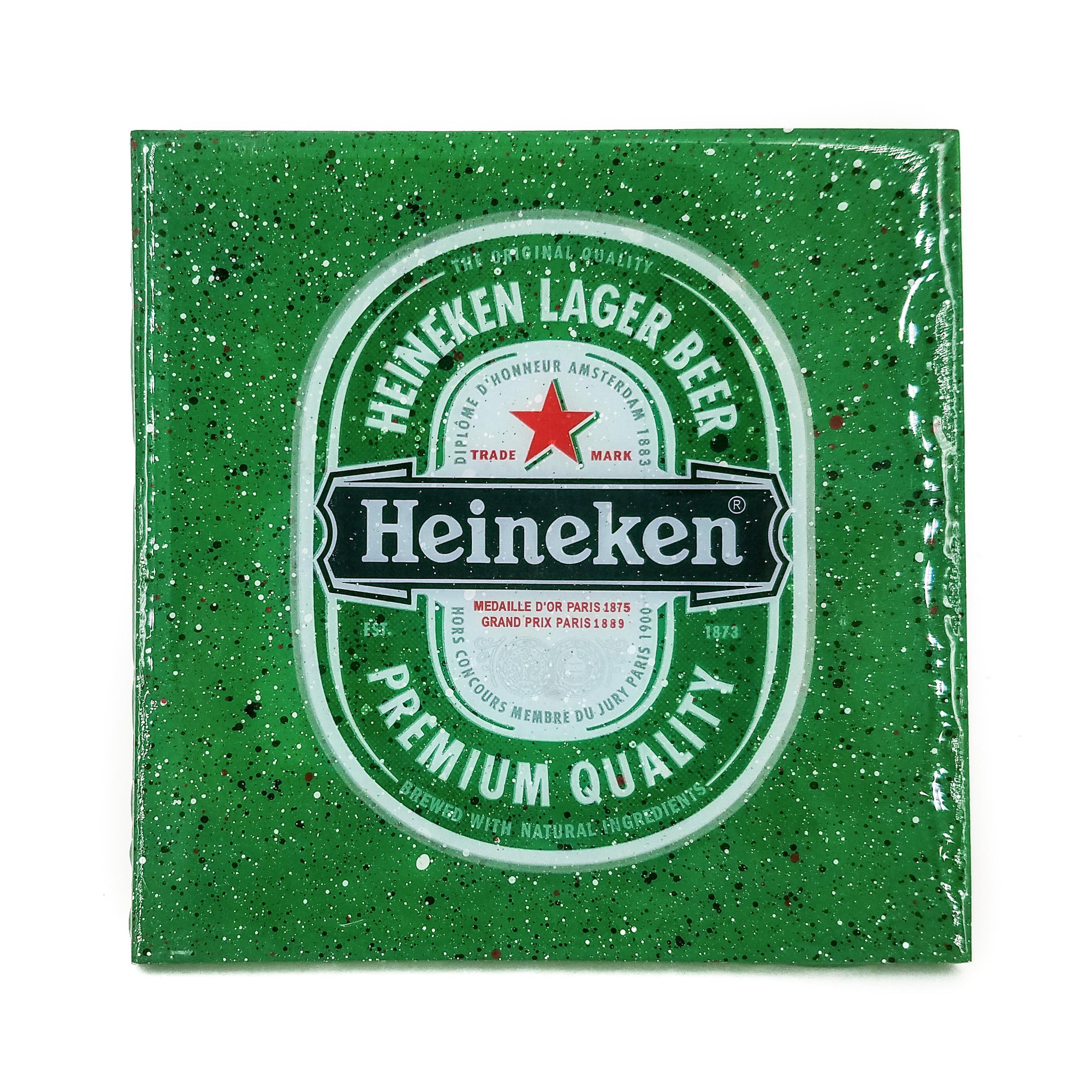 stella divina handmade coaster heineken beer label handmade