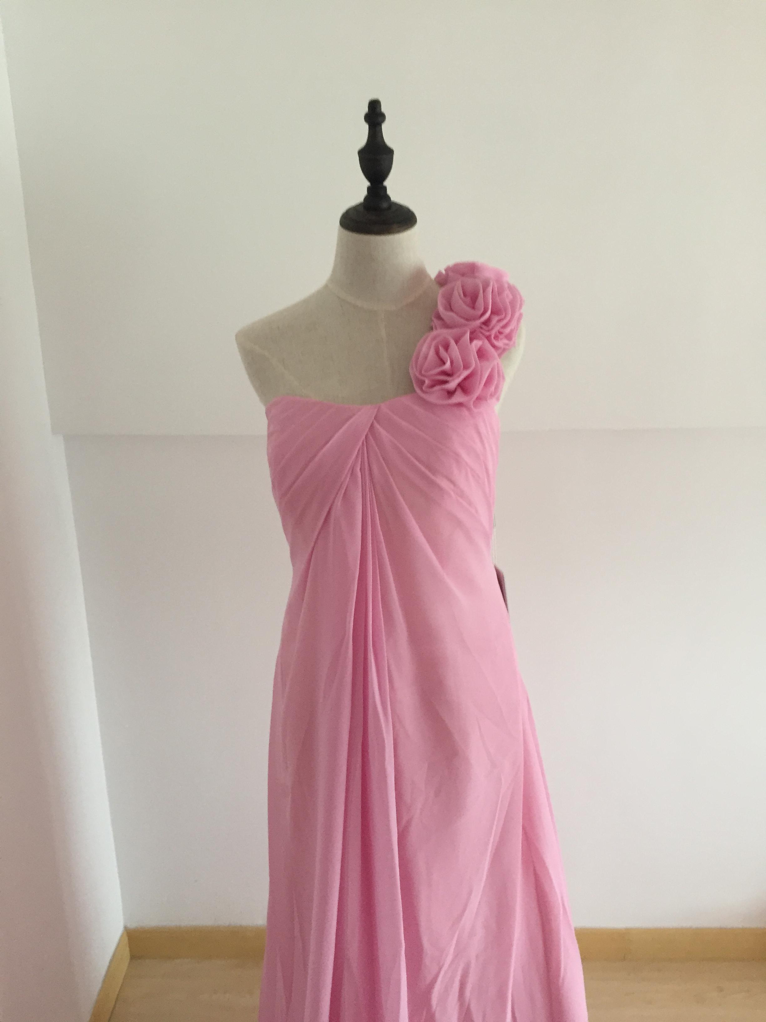 A410 Custom Made One SHoulder Prom Dresses Long , Pink Chiffon Prom ...