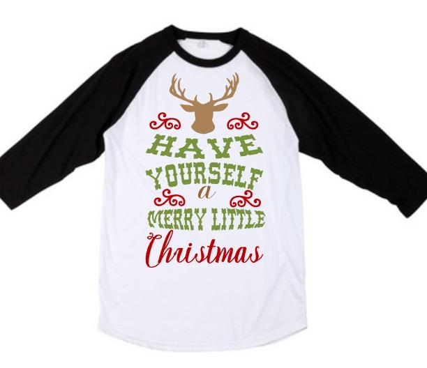 have yourself a merry little christmas raglan deer silhouette raglan