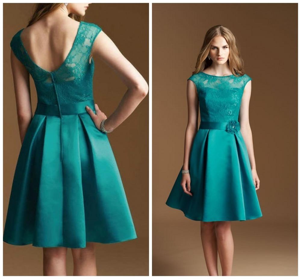Satin A-line Short Cheap Lace O neck Bridesmaid Dresses, FS5097 ...