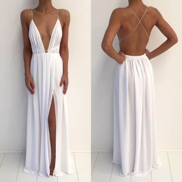 White Chiffon Deep V Neck Floor Length Side Slit Spaghetti Strap ...