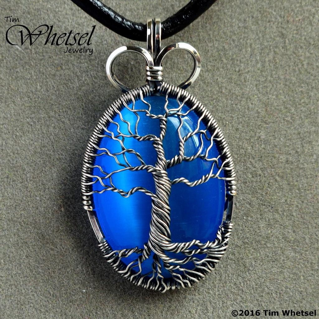 Sterling Silver Tree Of Life Pendant Blue Cats Eye Handmade