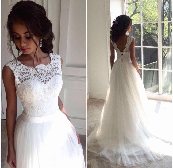 A Line White Wedding Dress