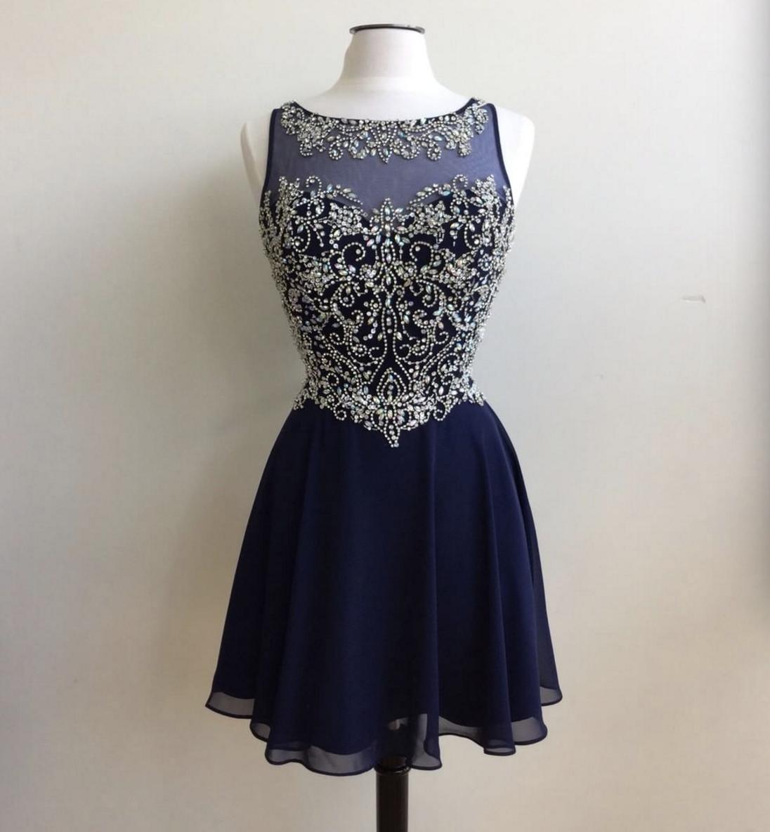 Dark Blue Short Homecoming Dresses