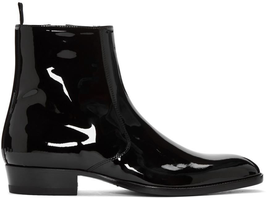 Handmade Men Fashion Black Patent Leather Boots, Men Side Zipper ...