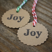 'Joy' Kraft Tags on Bakers Twine - Set of 15