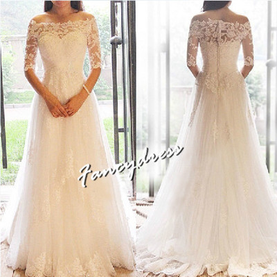 Appliques Long Wedding Dress ,Half Sleeve Wedding Gowns,Bridal Gown ...