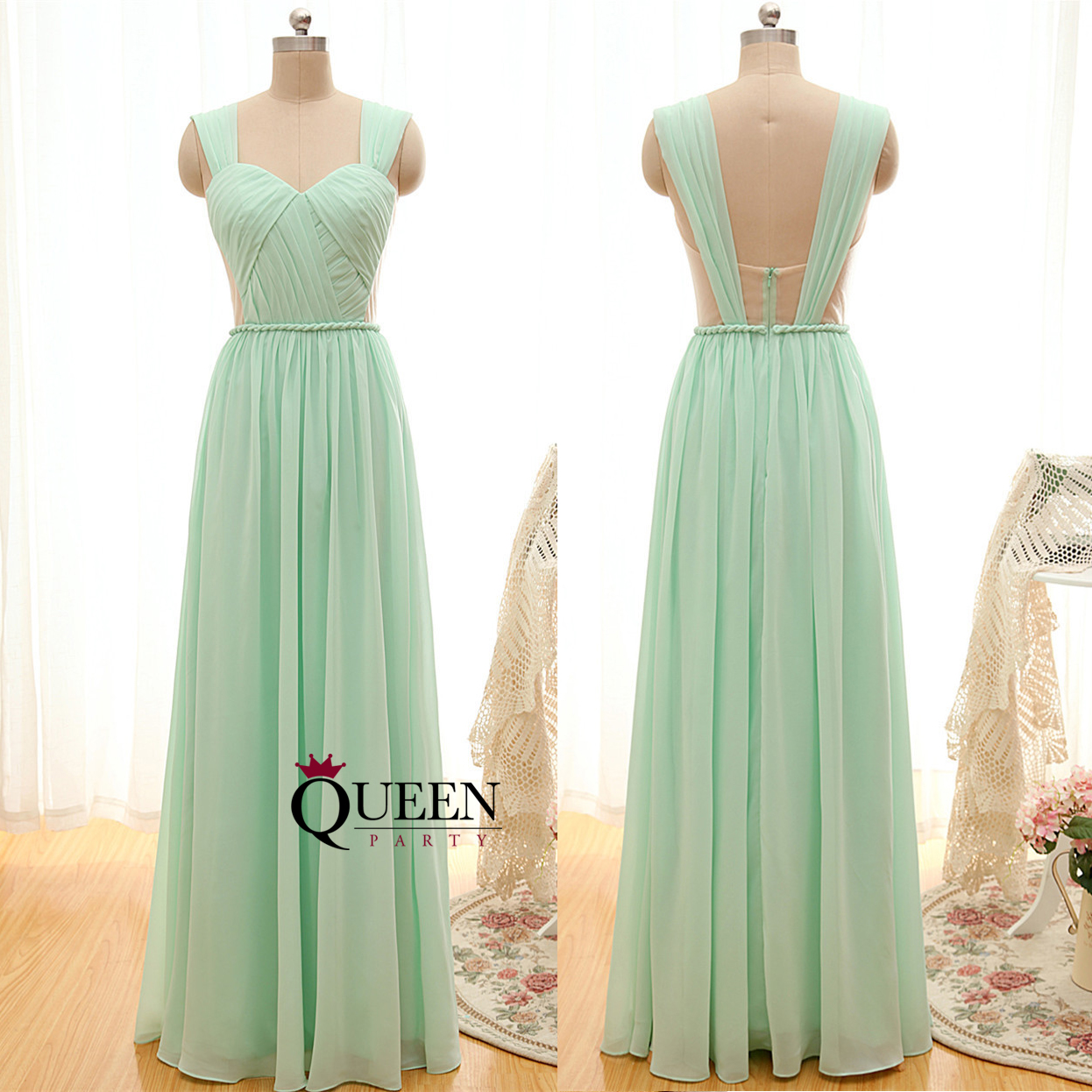 Mint chiffon strap sweetheart rope waistband ruffles bridesmaid mint chiffon strap sweetheart rope waistband ruffles bridesmaid dress floor length long prom dress ombrellifo Image collections