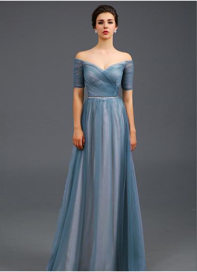 Light Blue Off The Shoulder Evening Dressa Line Formal Dresswomen