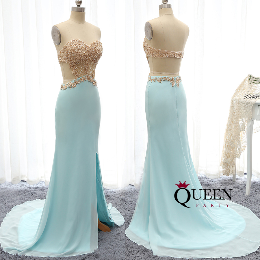 Unique Mint Blue Jersey Side Slit And Sweetheart Golden Lace ...
