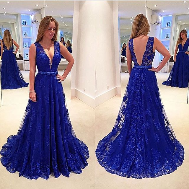 New Arrival Deep V Neck Royal Blue Lace Prom Dresses,Off the ...