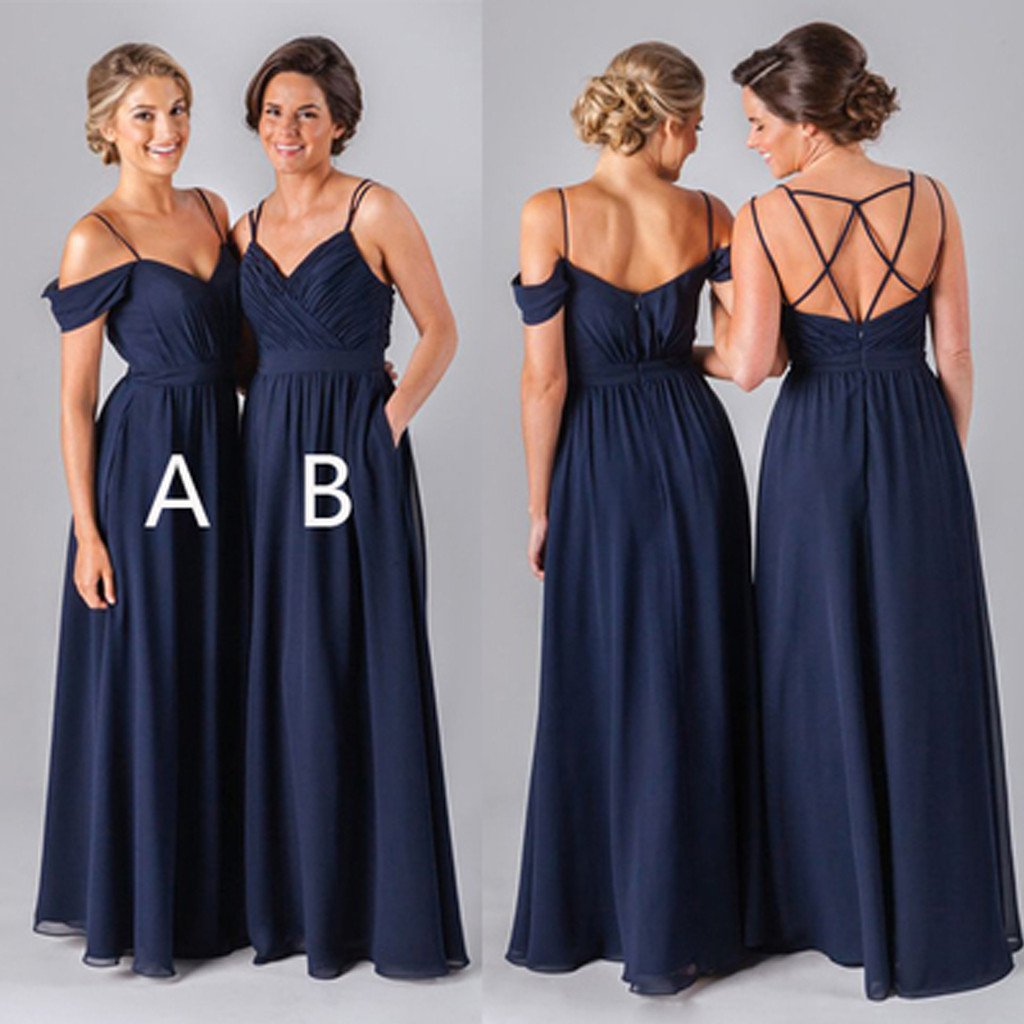 2017 Navy Long bridesmaid dresses, chiffon bridesmaid dresses ...