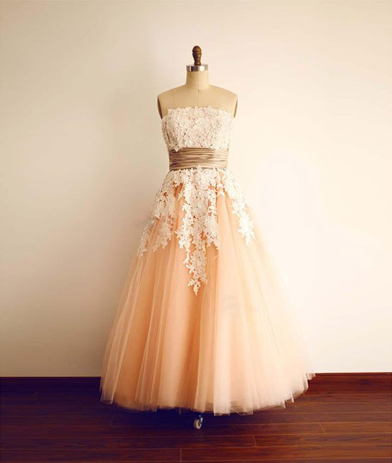 A Line Pearl Pink Tulle Decals Knee Length Prom Dress Wedding