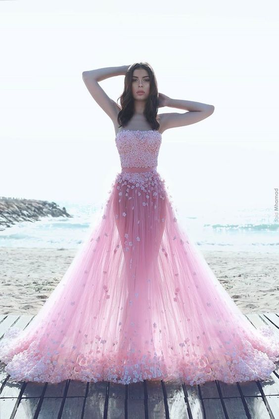 Sexy Two Pieces Pink Evening Prom Dresses, Long Beaded Party Prom ...
