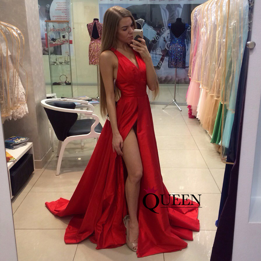 Red Low V-Neck And A-Line Satin Side Slit Long Evening Gown With ...