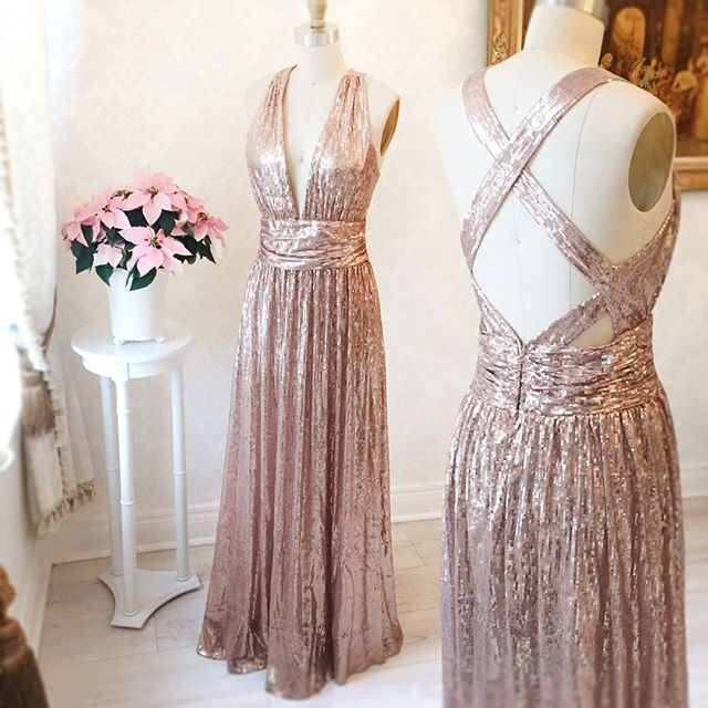 Gorgeous A-line Long Rose Gold Prom Dress Bridesmaid Dress with ...