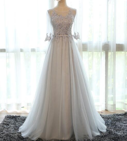 3/4 Long Sleeves Grey Blue Lace Ball Gown Prom Dresses,Real Photos ...